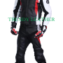 bmw motorcycle 2pcs black/red bikers racing leather suit