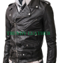 slimfit belted black faux leather jacket