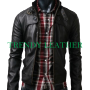 slimfit button pocket black faux leather jacket