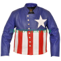 Men's puerto rico flag style real leather jacket
