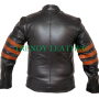 X-Men Wolverine brown with Strips Biker Leather Jacket