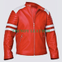 fight club tyler durden brad pitt mayhem red & white real leather jacket