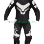 hy-fly black and silver 1pcs bikers racing cow leather suit
