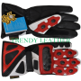 red real leather bikers racing gloves