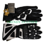 Black/white real leather bikers racing gloves