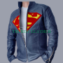 superman man of steel blue sheep skin real leather jacket