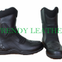 black real leather bikers racing shoes