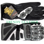 black/gray real leather bikers racing gloves