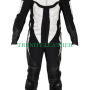black and white 1pcs bikers racing real cow leather suit