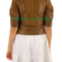 Young women's Brown stylish fashionable bikers real leather jacket