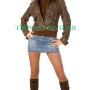Young women's brown stylish fashionable real leather bikers jacket