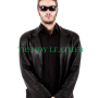 men's stylish black real leather blazer