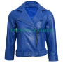 women's blue biker fashion stylish real leather jacket.