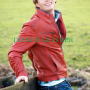 Young mens red stylish fashionable real leather bikers jacket