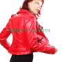 Women red fashionable real leather jacket/coat.