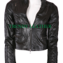 young women black real leather jacket.