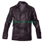 double breasted dr who eccleston german brown cow leather jacket pea coat