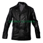 classic dr who eccleston german black cow leather jacket pea coat