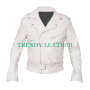 slimfit belted white sheep skin real leather jacket