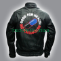 akira kaneda biker black real leather jacket embrodery