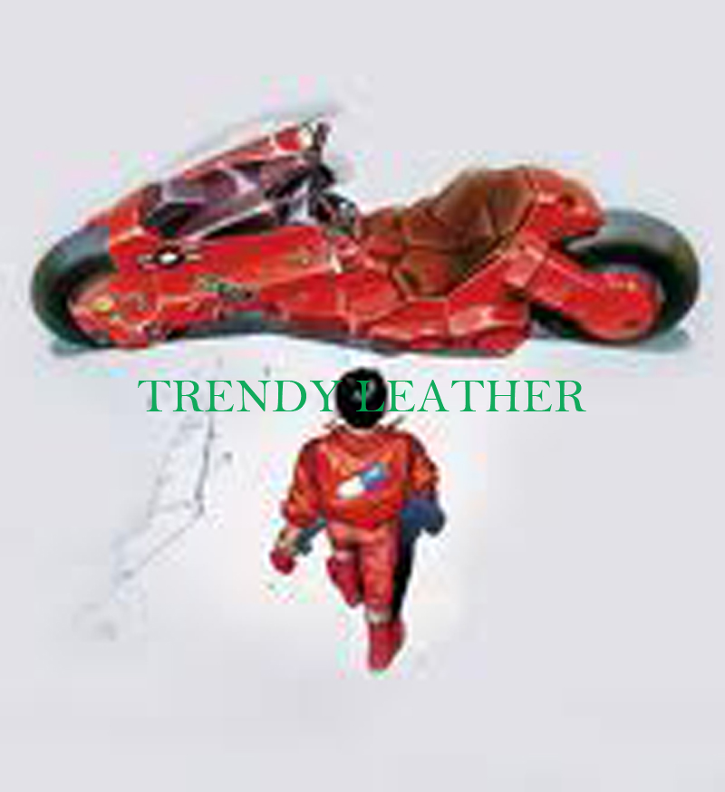 akira kaneda biker red real leather jacket with embrodery | Trendy