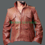 defiance chief lawkeeper jeb nolan grant bowler plain & distressed leather jacket