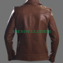 distressed vintage look copper rubb-off real leather jacket