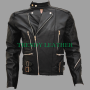 classic vintage brando black motorcycle/bikers racing cow-hide real leather jacket