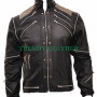 pop legend michael jackson mj beat it black 100% real Leather Jacket