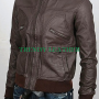 slimfit 6 pocket bomber brown real leather jacket