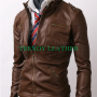 slim fit zip pocket bikers light brown real leather jacket
