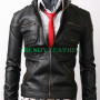 slimfit zip pocket bikers black real sheep leather jacket