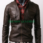 slimfit zippocket bikers brown real sheep leather jacket
