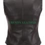 women's stylish black bikers racing real leather vest