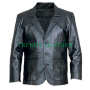 mens black stylish 3 button real leather blazer/coat