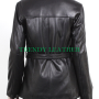 women's stylish black zipper with belt real leather jacket
