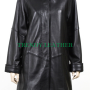 women's black stylish wave black real leather coat.