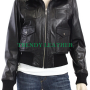 women's black ribbed collar bomber real leather jacket