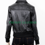 women's black casual bomber wrinkled real leather jacket