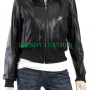 women's stylish oval pocket black real leather jacket