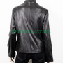 women's black 4 pocket fashionable real leather jacket
