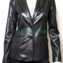 women's black stylish 2 button real leather jacket