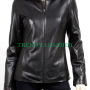 women's fashionable black real leather jacket.