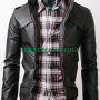 slimfit cross pocket bikers black real leather jacket