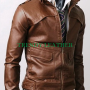 slimfit cross pocket bikers light brown real leather jacket