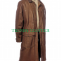 men's stylish leather dusters brown long real leather coat