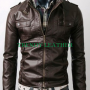 slimfit strap pocket bikers brown real leather jacket