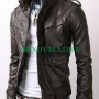 slimfit flapped pocket bukers black real leather jacket