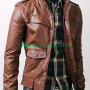 slimfit flapped pocket bukers brown real leather jacket