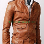slimfit flapped pocket bukers light brown real leather jacket